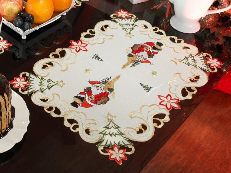 Jogo Americano Natal 4 Lugares (4 peças) com Bordado Richelieu 35x50cm - Festiva Natural - Dui Design