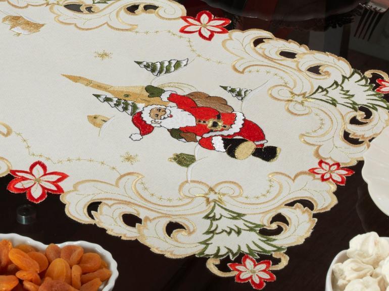 Trilho de Mesa Natal com Bordado Richelieu 40x85cm Avulso - Festiva Natural - Dui Design