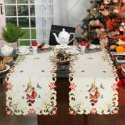 Trilho de Mesa Natal com Bordado Richelieu 45x170cm Avulso - Festiva Natural - Dui Design