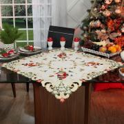 Centro de Mesa Natal Quadrado com Bordado Richelieu 85x85cm - Festiva Natural - Dui Design