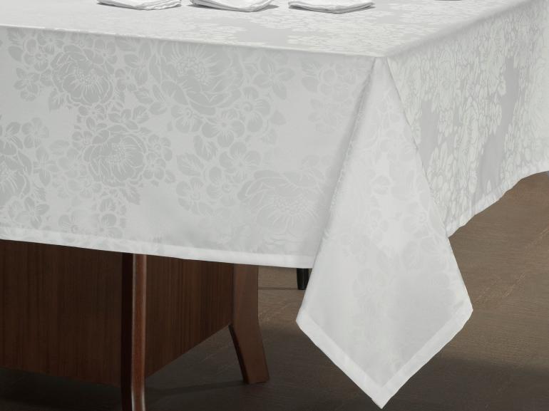 Toalha de Mesa Fácil de Limpar Retangular 6 Lugares 160x220cm - Fiore Branco - Dui Design