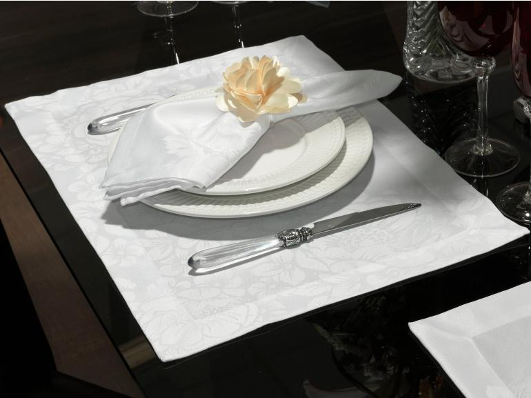 Jogo Americano 4 Lugares (4 peças) Fácil de Limpar 35x50cm - Fiore Branco - Dui Design