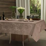 Toalha de Mesa Fácil de Limpar Retangular 6 Lugares 160x220cm - Fiore Noz Moscada - Dui Design