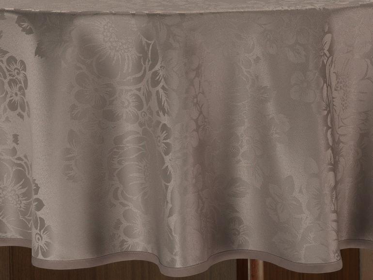 Toalha de Mesa Fácil de Limpar Redonda 220cm - Fiore Noz Moscada - Dui Design