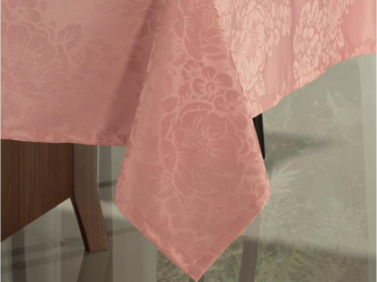 Toalha de Mesa Fácil de Limpar Quadrada 8 Lugares 220x220cm - Fiore Rosa Velho - Dui Design