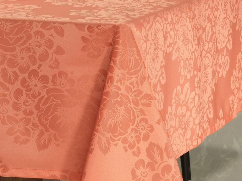 Toalha de Mesa Fácil de Limpar Retangular 8 Lugares 160x270cm - Fiore Salmão - Dui Design