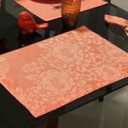 Jogo Americano 4 Lugares (4 peças) Fácil de Limpar 35x50cm - Fiore Salmão - Dui Design