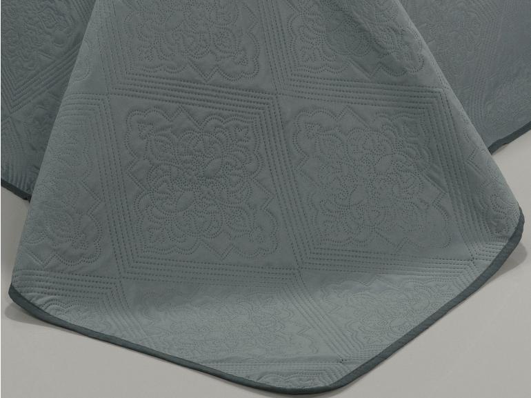 Kit: 1 Cobre-leito Queen Bouti de Microfibra Ultrasonic + 2 Porta-travesseiros - Firenze Cinza - Dui Design