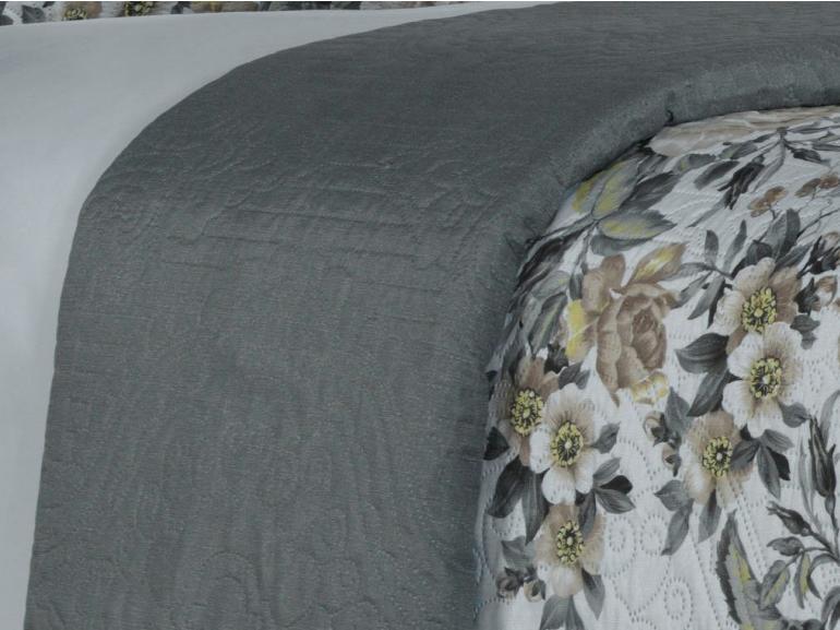 Kit: 1 Cobre-leito Casal Bouti de Microfibra Ultrasonic Estampada + 2 Porta-travesseiros - Flavia Sephia - Dui Design