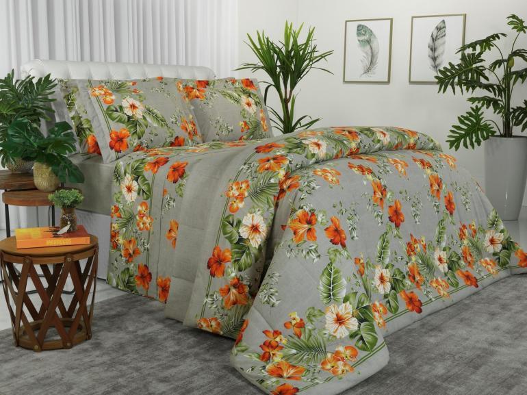 Jogo de Cama Queen Percal 180 fios - Flora Linho - Dui Design