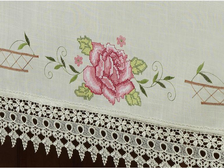 Toalha de Mesa com Bordado Richelieu Quadrada 8 Lugares 220x220cm - Flora Natural e Rosa - Dui Design
