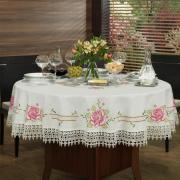 Toalha de Mesa com Bordado Richelieu Redonda 180cm - Flora Natural e Rosa - Dui Design