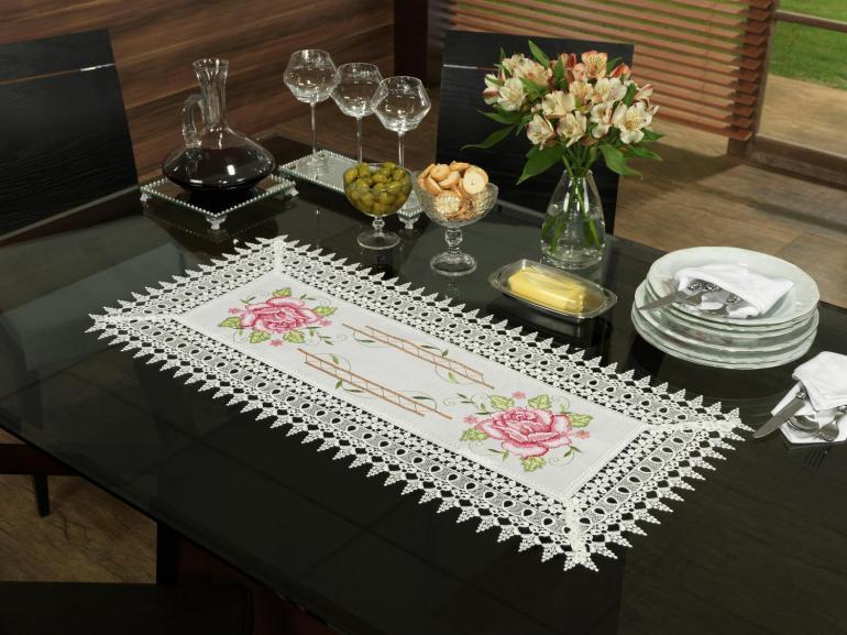 Trilho de Mesa com Bordado Richelieu 40x85cm Avulso - Flora Natural e Rosa - Dui Design