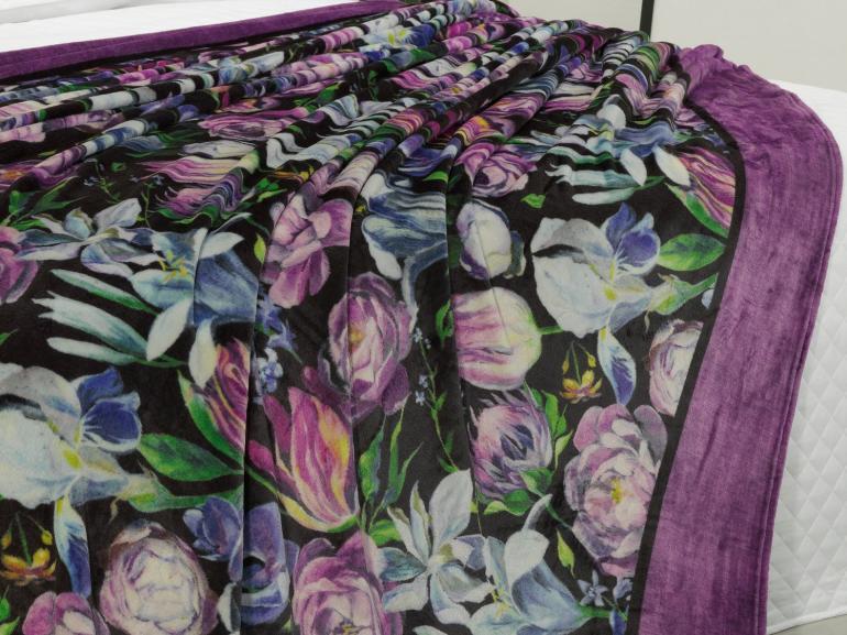 Cobertor Avulso Casal Flanelado com Estampa Digital 280 gramas/m² - Floral Art - Dui Design