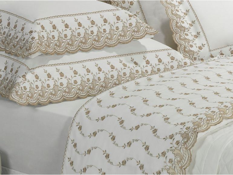 Jogo de Cama Queen Percal 200 fios com Bordado Inglês - Florata Branco e Caqui - Dui Design