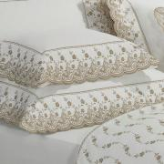 Kit: 1 Cobre-leito Solteiro + 1 porta-travesseiro Percal 200 fios com Bordado Inglês - Florata Branco e Caqui - Dui Design