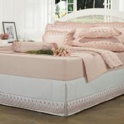 Saia para cama Box Matelassada com Bordado Inglês Casal - Florata Branco e Rosa Velho - Dui Design