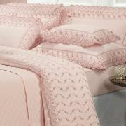 Kit: 1 Cobre-leito Queen + 2 porta-travesseiros Percal 200 fios com Bordado Inglês - Florata Rosa Velho - Dui Design