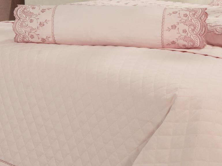 Jogo de Cama Casal Percal 200 fios com Bordado Inglês - Florata Rosa Velho - Dui Design