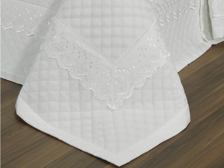 Jogo de Cama Casal Percal 200 fios com Bordado Inglês - Florenze Branco - Dui Design