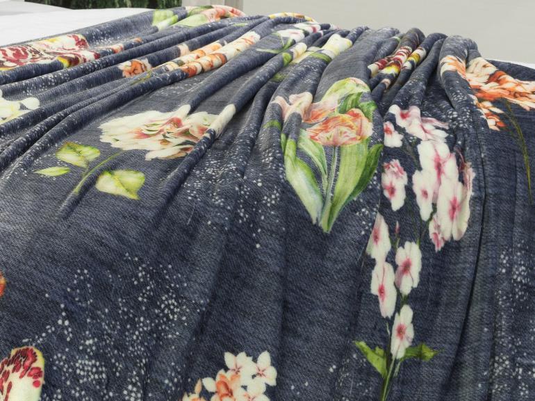 Cobertor Avulso Casal Flanelado com Estampa Digital 280 gramas/m² - Flower Jeans - Dui Design