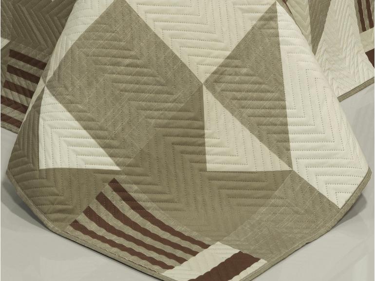 Kit: 1 Cobre-leito Casal Bouti de Microfibra Ultrasonic Estampada + 2 Porta-travesseiros - Fluence Castanho - Dui Design