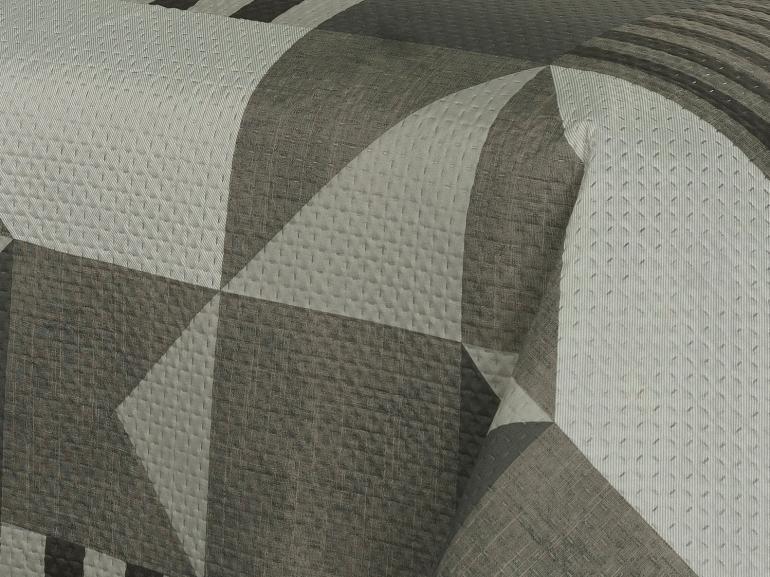 Kit: 1 Cobre-leito King Bouti de Microfibra Ultrasonic Estampada + 2 Porta-travesseiros - Fluence Linho - Dui Design