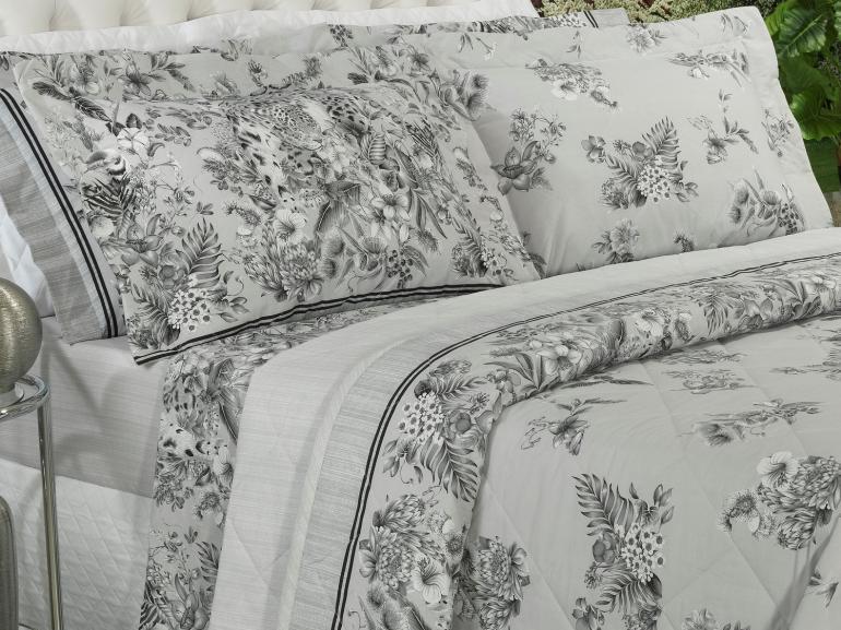 Kit: 1 Cobre-leito Solteiro + 1 Porta-travesseiro Percal 200 fios - Forest Cinza - Dui Design