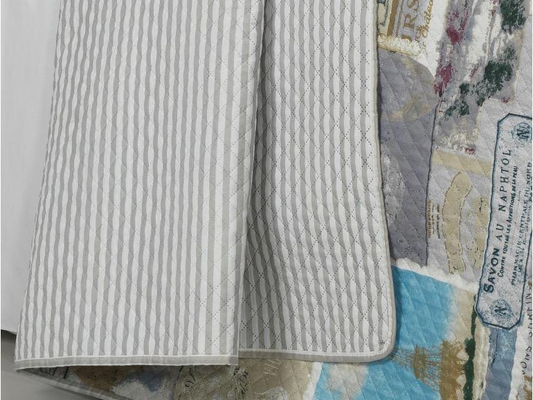 Kit: 1 Cobre-leito Solteiro Bouti de Microfibra Ultrasonic Estampada + 1 Porta-travesseiro - France Natural - Dui Design