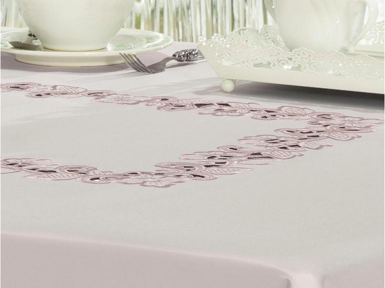 Toalha de Mesa com Bordado Richelieu Quadrada 4 Lugares 160x160cm - Francine Rosa Velho - Dui Design