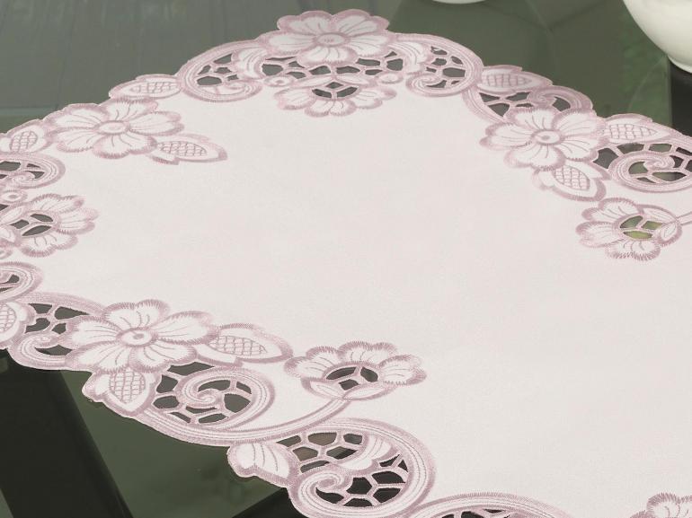 Trilho de Mesa com Bordado Richelieu 40x85cm Avulso - Francine Rosa Velho - Dui Design