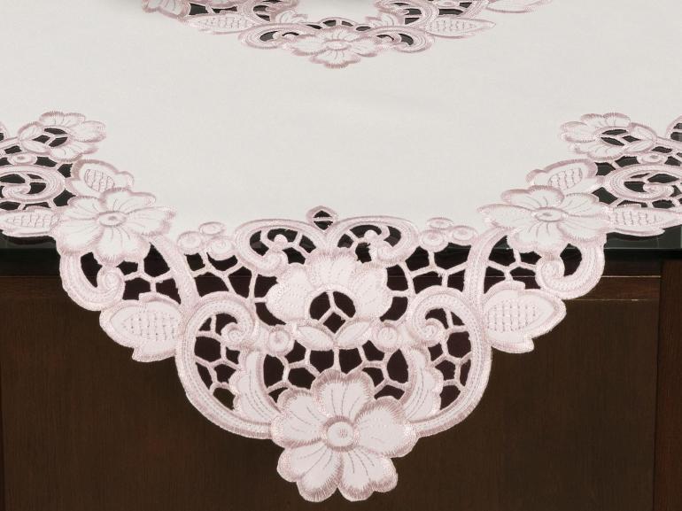 Centro de Mesa Quadrado com Bordado Richelieu 85x85cm - Francine Rosa Velho - Dui Design