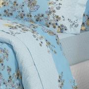 Jogo de Cama Casal Percal 200 fios - Francis Azul - Dui Design