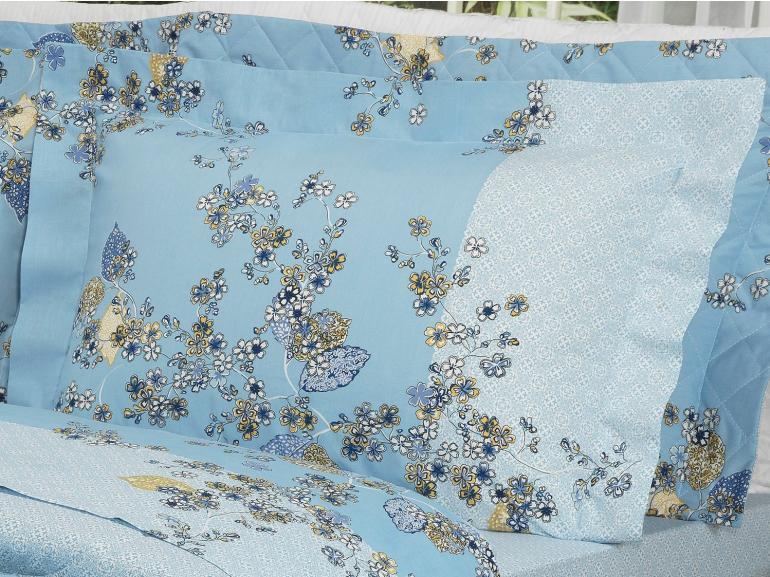 Jogo de Cama King Percal 200 fios - Francis Azul - Dui Design