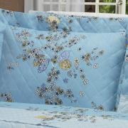Kit: 1 Cobre-leito Solteiro + 1 Porta-travesseiro Percal 200 fios - Francis Azul - Dui Design