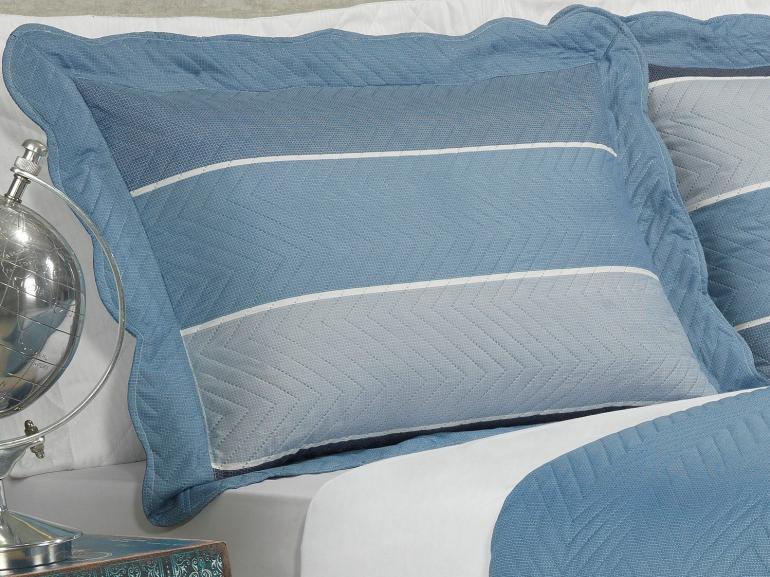 Kit: 1 Cobre-leito Casal Bouti de Microfibra Ultrasonic Estampada + 2 Porta-travesseiros - Fremont Azul - Dui Design
