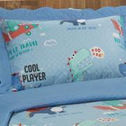 Kit: 1 Cobre-leito Solteiro Kids Bouti de Microfibra PatchWork Ultrasonic + 1 Porta-travesseiro - Funny Dinos Azul - Dui Design