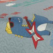 Kit: 1 Cobre-leito Solteiro Kids Bouti de Microfibra PatchWork Ultrasonic + 1 Porta-travesseiro - Funny Dinos Jeans - Dui Design