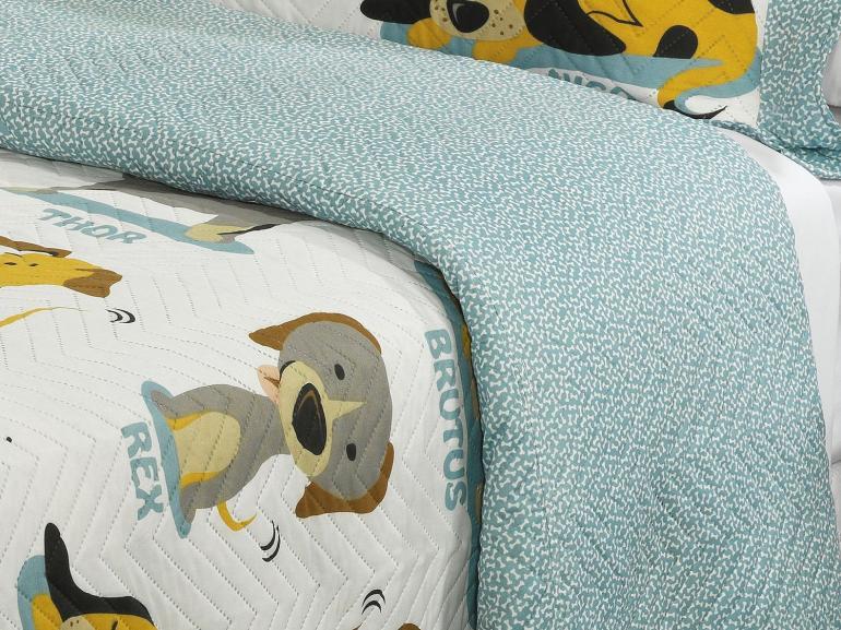 Kit: 1 Cobre-leito Solteiro Kids Bouti de Microfibra PatchWork Ultrasonic + 1 Porta-travesseiro - Funny Dogs - Dui Design