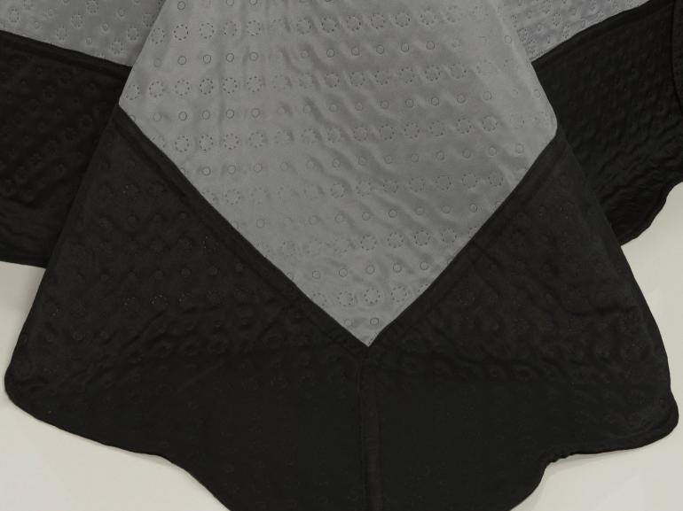 Kit: 1 Cobre-leito Casal Bouti de Microfibra Ultrasonic + 2 Porta-travesseiros - Fushimi Cinza e Preto - Dui Design