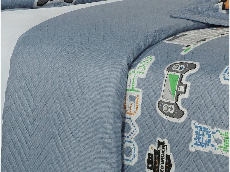 Kit: 1 Cobre-leito Solteiro Kids Bouti de Microfibra PatchWork Ultrasonic + 1 Porta-travesseiro - Games Azul - Dui Design