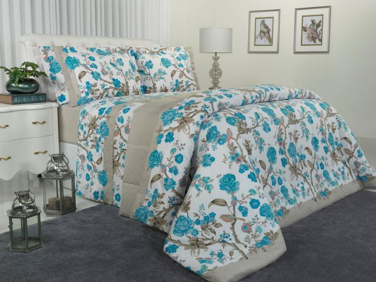 Jogo de Cama Queen Percal 180 fios - Garden Azul - Dui Design