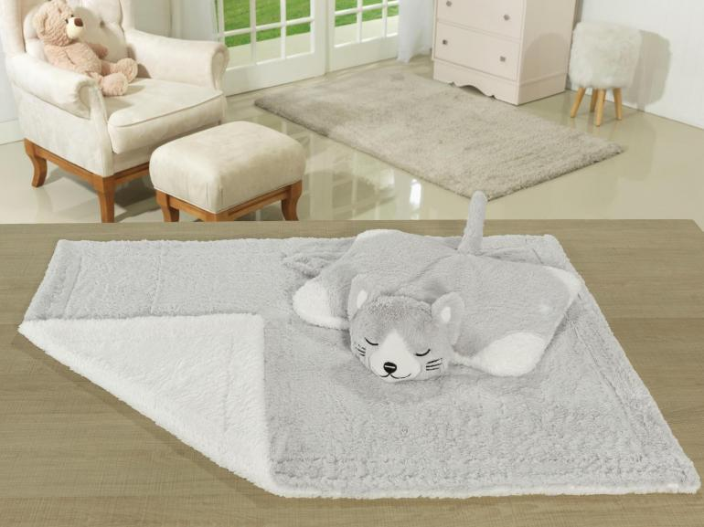 Kit: 1 Cobertor Baby Pele de Carneiro Sherpa + 1 Almofada Baby Kids de Bichinhos - Gatinho Cinza Sherpa - Dui Design
