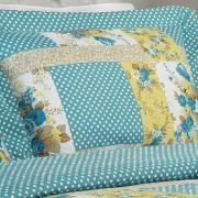Kit: 1 Cobre-leito Casal Bouti de Microfibra Ultrasonic Estampada + 2 Porta-travesseiros - Geise Azul - Dui Design