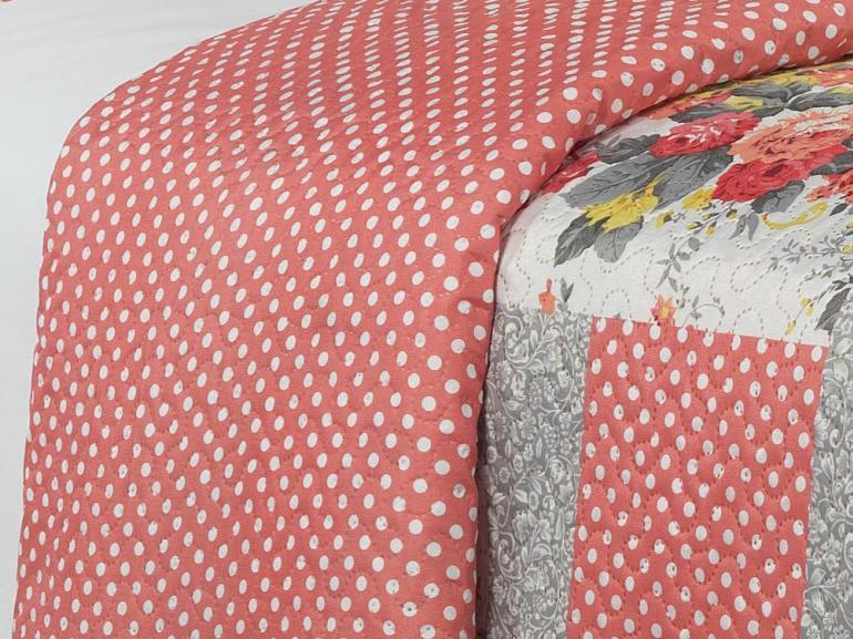 Kit: 1 Cobre-leito Casal Bouti de Microfibra Ultrasonic Estampada + 2 Porta-travesseiros - Geise Rosa - Dui Design