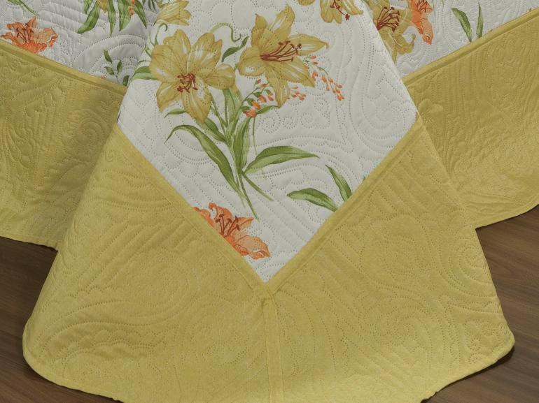 Kit: 1 Cobre-leito Casal Bouti de Microfibra Ultrasonic Estampada + 2 Porta-travesseiros - Giardino Amarelo - Dui Design