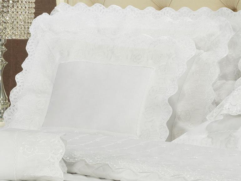 Jogo de Cama King Cetim de Algodão 300 fios com Bordado Inglês - Glamour Branco - Dui Design
