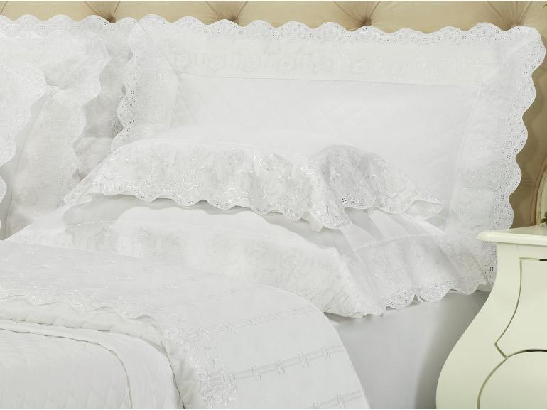 Enxoval 10 peças com Cobre-leito King Cetim de Algodão 300 fios com Bordado Inglês - Glamour Branco - Dui Design