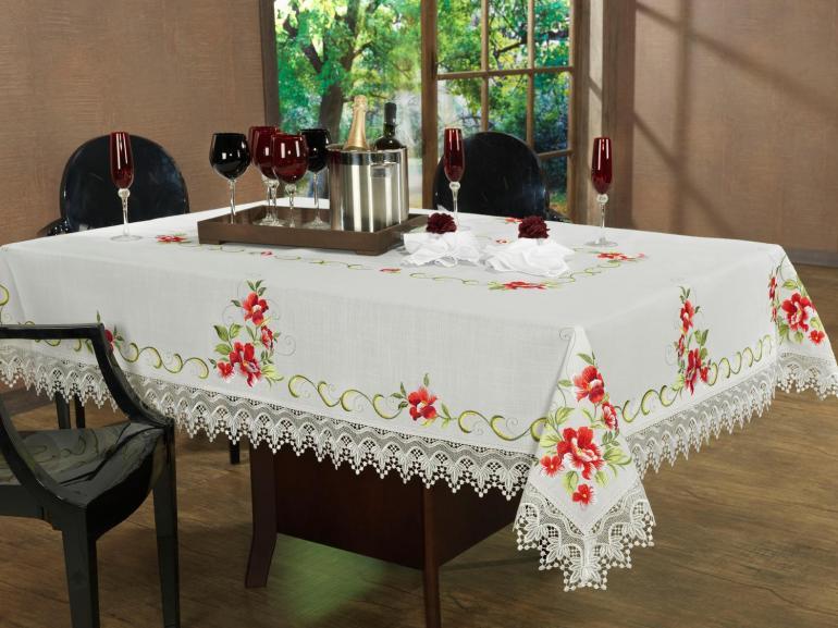 Toalha de Mesa com Bordado Richelieu Quadrada 4 Lugares 160x160cm - Glória Natural e Carmim - Dui Design
