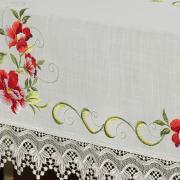 Toalha de Mesa com Bordado Richelieu Quadrada 8 Lugares 220x220cm - Glória Natural e Carmim - Dui Design